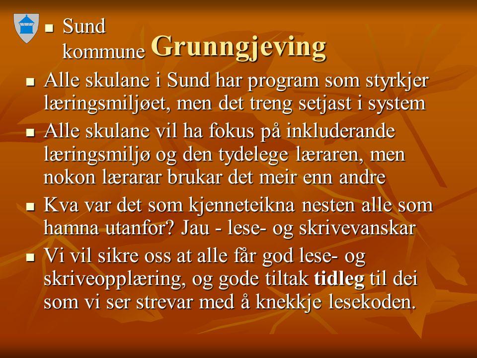Sund kommune Sund kommune Grunngjeving Alle skulane i Sund har program som styrkjer læringsmiljøet, men det treng setjast i system Alle skulane i Sund