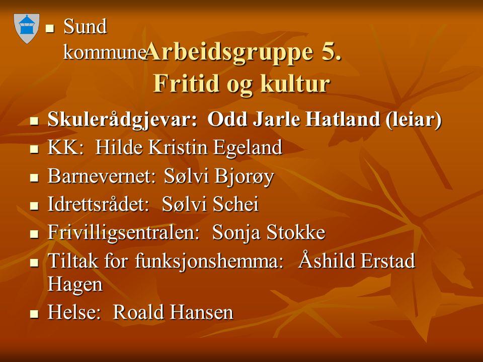 Sund kommune Sund kommune Arbeidsgruppe 5. Fritid og kultur Skulerådgjevar: Odd Jarle Hatland (leiar) Skulerådgjevar: Odd Jarle Hatland (leiar) KK: Hi