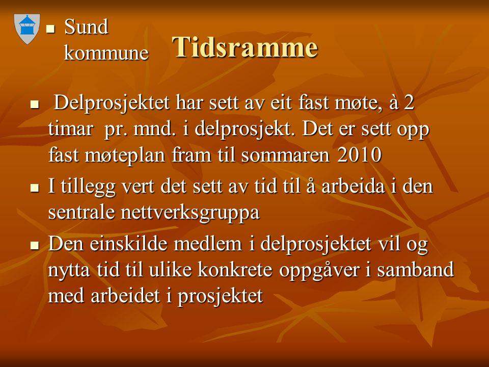 Sund kommune Sund kommune Tidsramme Delprosjektet har sett av eit fast møte, à 2 timar pr. mnd. i delprosjekt. Det er sett opp fast møteplan fram til