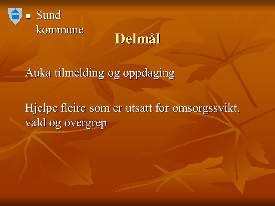 Sund kommune Sund kommune Delmål Auka tilmelding og oppdaging Hjelpe fleire som er utsatt for omsorgssvikt, vald og overgrep