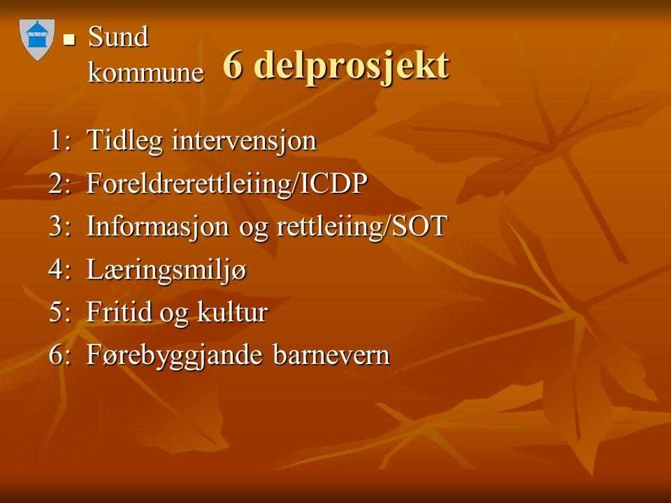 Sund kommune Sund kommune 6 delprosjekt 1: Tidleg intervensjon 1: Tidleg intervensjon 2: Foreldrerettleiing/ICDP 2: Foreldrerettleiing/ICDP 3: Informasjon og rettleiing/SOT 3: Informasjon og rettleiing/SOT 4: Læringsmiljø 4: Læringsmiljø 5: Fritid og kultur 5: Fritid og kultur 6: Førebyggjande barnevern 6: Førebyggjande barnevern