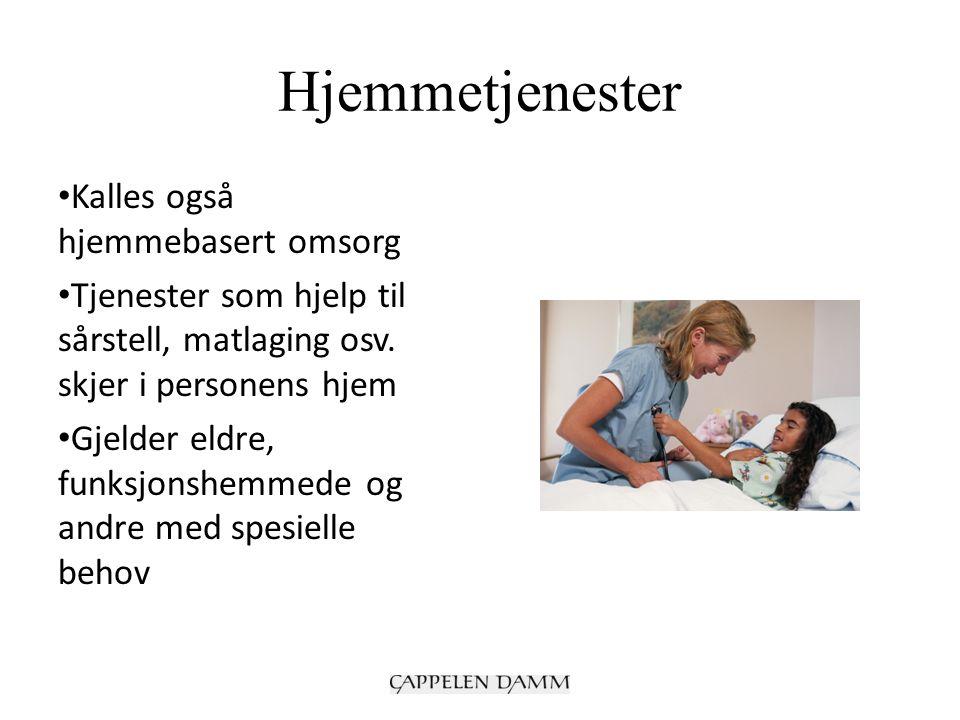 Hjemmetjenester Kalles også hjemmebasert omsorg Tjenester som hjelp til sårstell, matlaging osv. skjer i personens hjem Gjelder eldre, funksjonshemmed