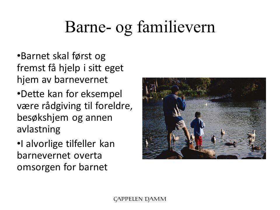 Barne- og familievern Barnet skal først og fremst få hjelp i sitt eget hjem av barnevernet Dette kan for eksempel være rådgiving til foreldre, besøkshjem og annen avlastning I alvorlige tilfeller kan barnevernet overta omsorgen for barnet