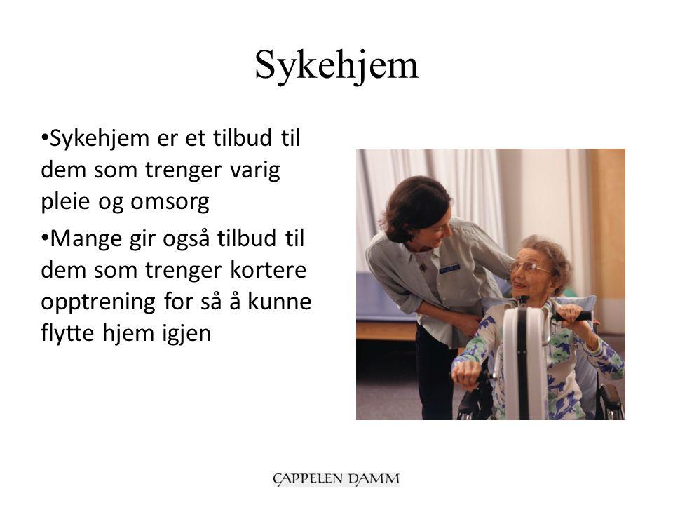 Sykehjem Sykehjem er et tilbud til dem som trenger varig pleie og omsorg Mange gir også tilbud til dem som trenger kortere opptrening for så å kunne f