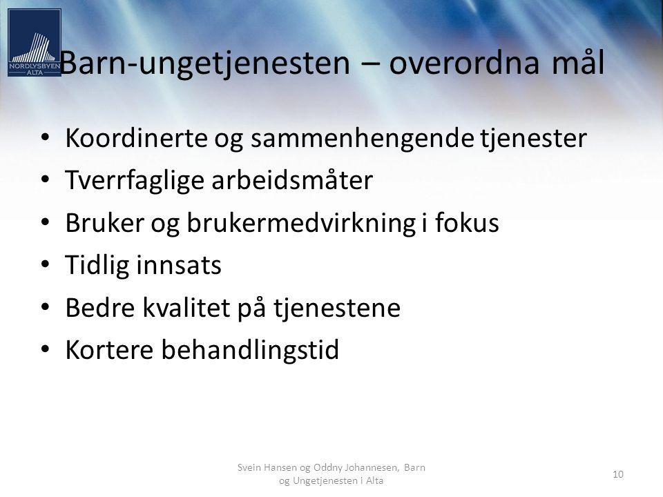 Svein Hansen og Oddny Johannesen, Barn og Ungetjenesten i Alta 10 Barn-ungetjenesten – overordna mål Koordinerte og sammenhengende tjenester Tverrfagl