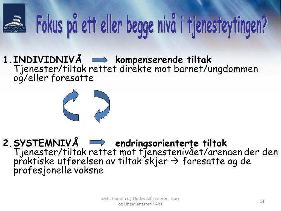 Svein Hansen og Oddny Johannesen, Barn og Ungetjenesten i Alta 14 1.INDIVIDNIVÅkompenserende tiltak Tjenester/tiltak rettet direkte mot barnet/ungdomm