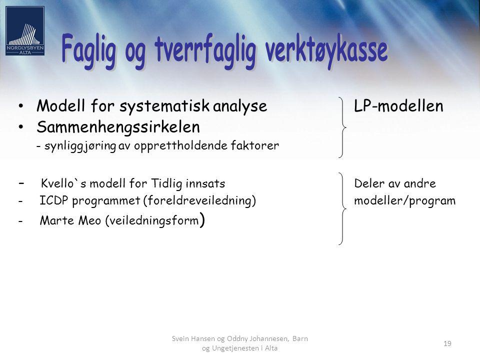 Svein Hansen og Oddny Johannesen, Barn og Ungetjenesten i Alta 19 Modell for systematisk analyse LP-modellen Sammenhengssirkelen - synliggjøring av op
