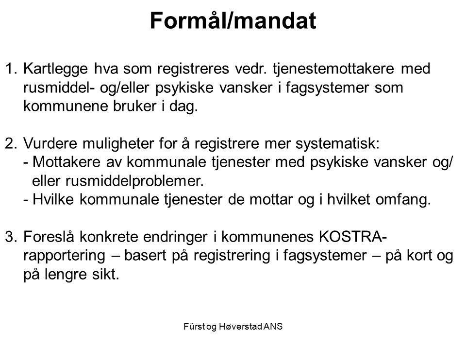 Fürst og Høverstad ANS Formål/mandat 1.Kartlegge hva som registreres vedr. tjenestemottakere med rusmiddel- og/eller psykiske vansker i fagsystemer so