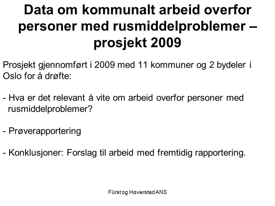 Fürst og Høverstad ANS Data om kommunalt arbeid overfor personer med rusmiddelproblemer – prosjekt 2009 Prosjekt gjennomført i 2009 med 11 kommuner og 2 bydeler i Oslo for å drøfte: - Hva er det relevant å vite om arbeid overfor personer med rusmiddelproblemer.