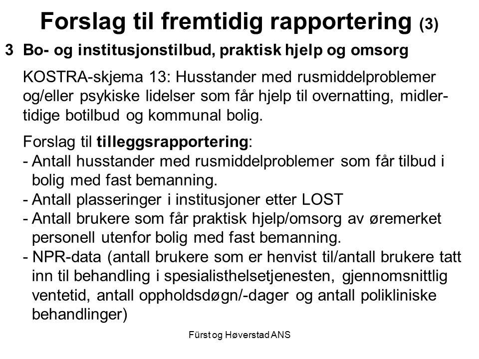 Fürst og Høverstad ANS Forslag til fremtidig rapportering (3) 3Bo- og institusjonstilbud, praktisk hjelp og omsorg KOSTRA-skjema 13: Husstander med ru