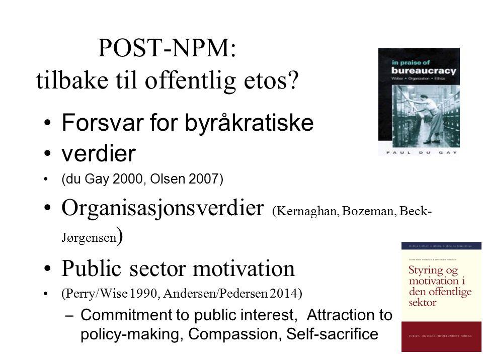POST-NPM: tilbake til offentlig etos.