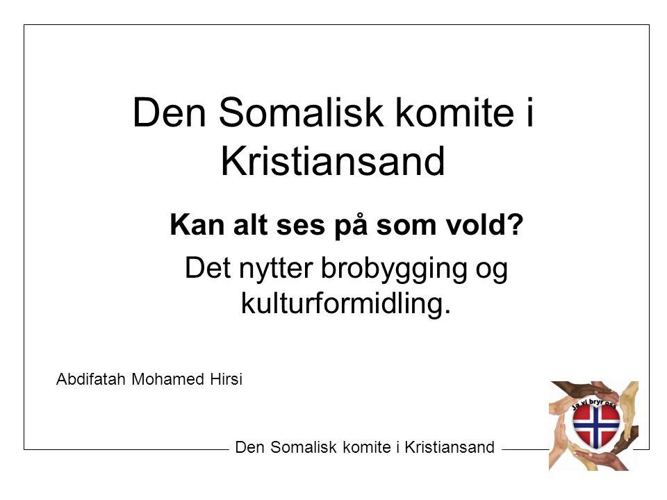Den Somalisk komite i Kristiansand Kan alt ses på som vold? Det nytter brobygging og kulturformidling. Den Somalisk komite i Kristiansand Abdifatah Mo