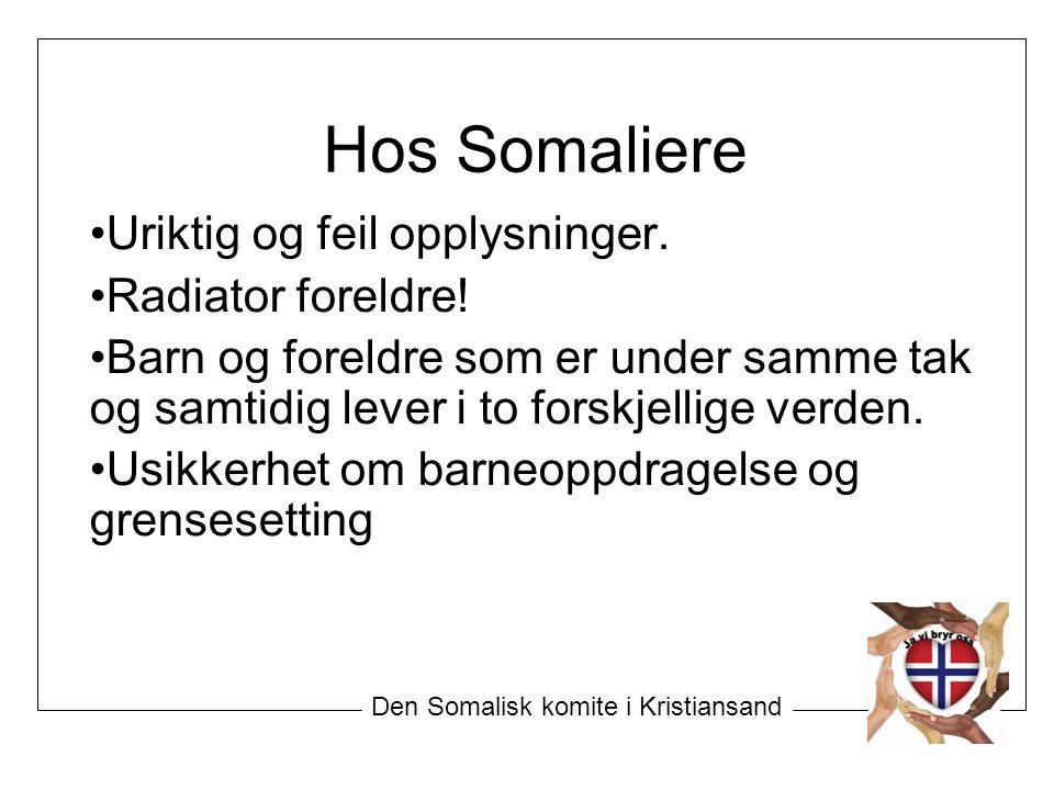 Hos Somaliere Uriktig og feil opplysninger.Radiator foreldre.