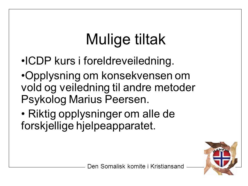 Mulige tiltak ICDP kurs i foreldreveiledning. Opplysning om konsekvensen om vold og veiledning til andre metoder Psykolog Marius Peersen. Riktig opply