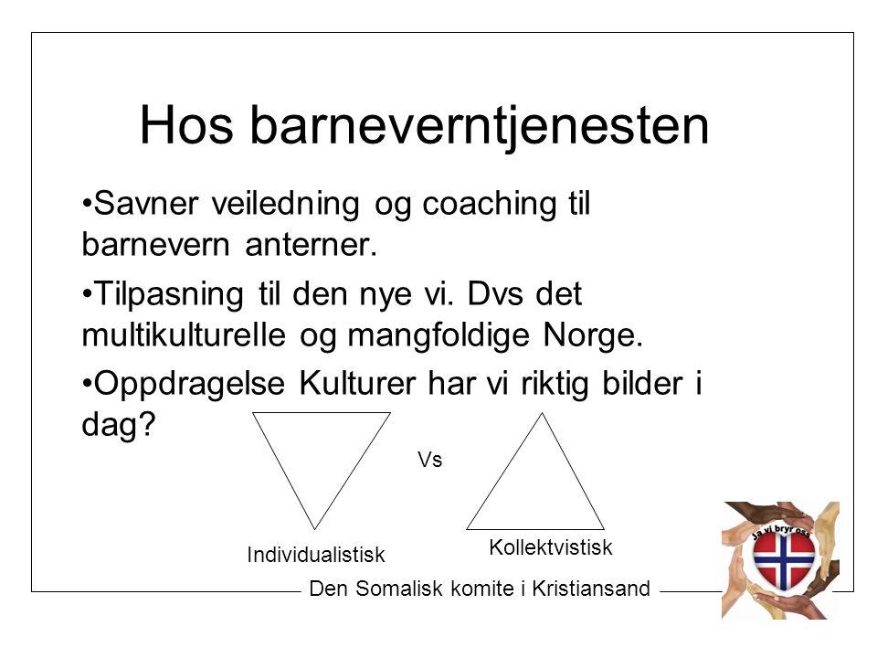 Hos barneverntjenesten Savner veiledning og coaching til barnevern anterner. Tilpasning til den nye vi. Dvs det multikulturelle og mangfoldige Norge.