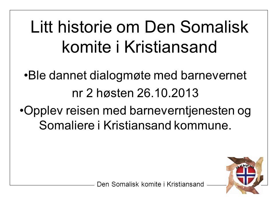 Den Somalisk komite i Kristiansand Ble dannet dialogmøte med barnevernet nr 2 høsten 26.10.2013 Opplev reisen med barneverntjenesten og Somaliere i Kr