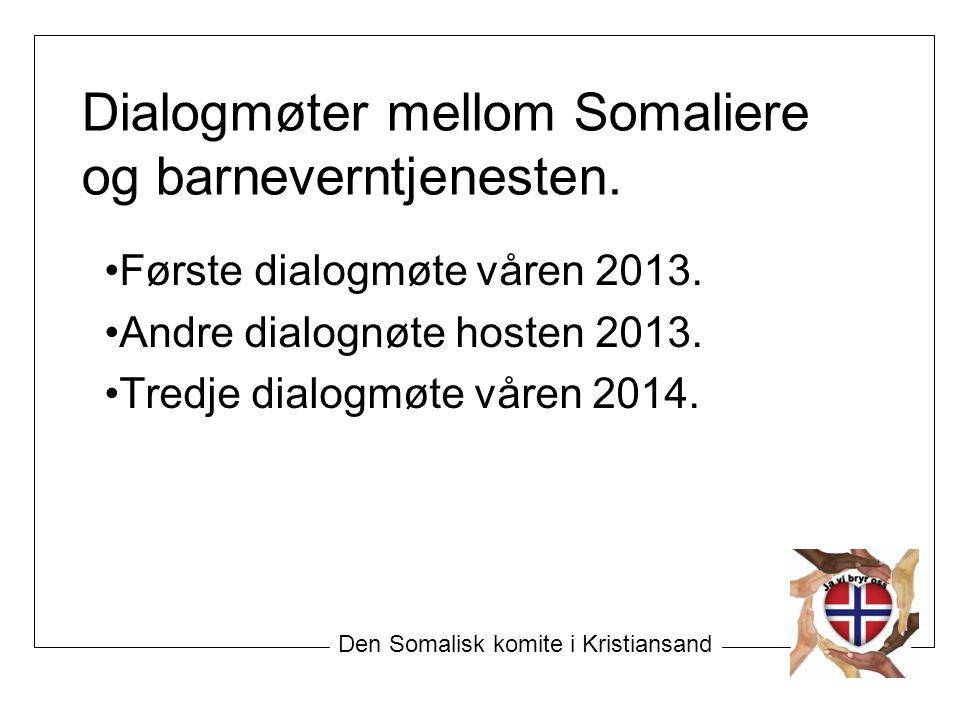 Dialogmøter mellom Somaliere og barneverntjenesten. Første dialogmøte våren 2013. Andre dialognøte hosten 2013. Tredje dialogmøte våren 2014. Den Soma