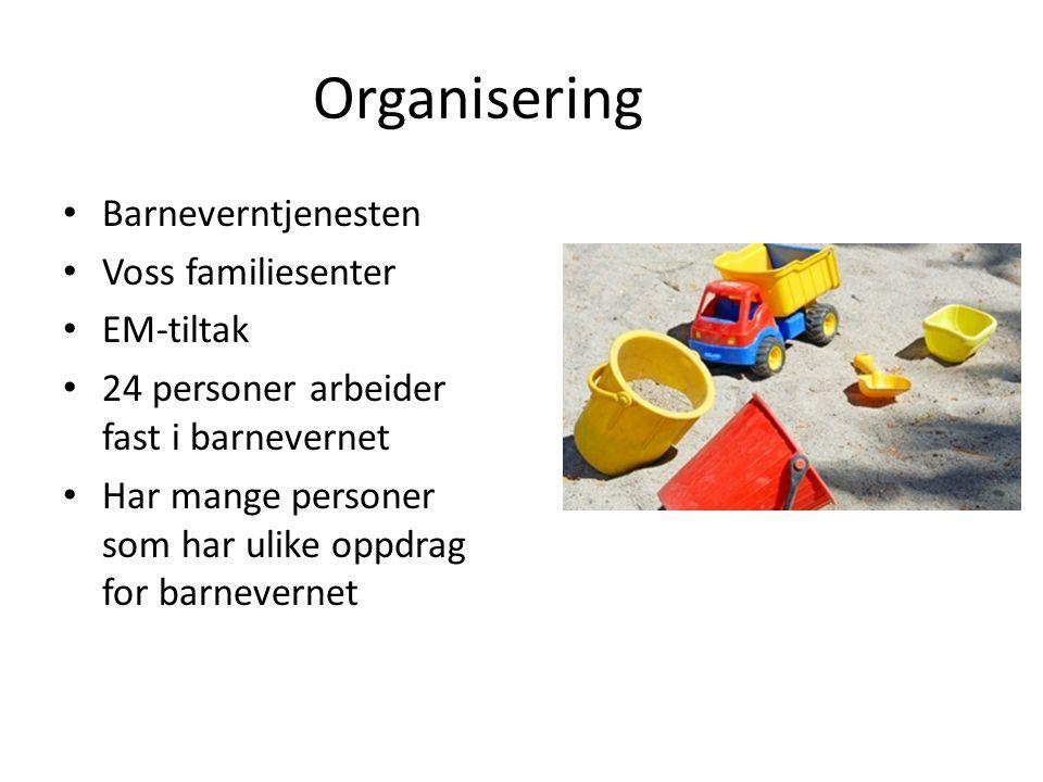 Organisering Barneverntjenesten Voss familiesenter EM-tiltak 24 personer arbeider fast i barnevernet Har mange personer som har ulike oppdrag for barn