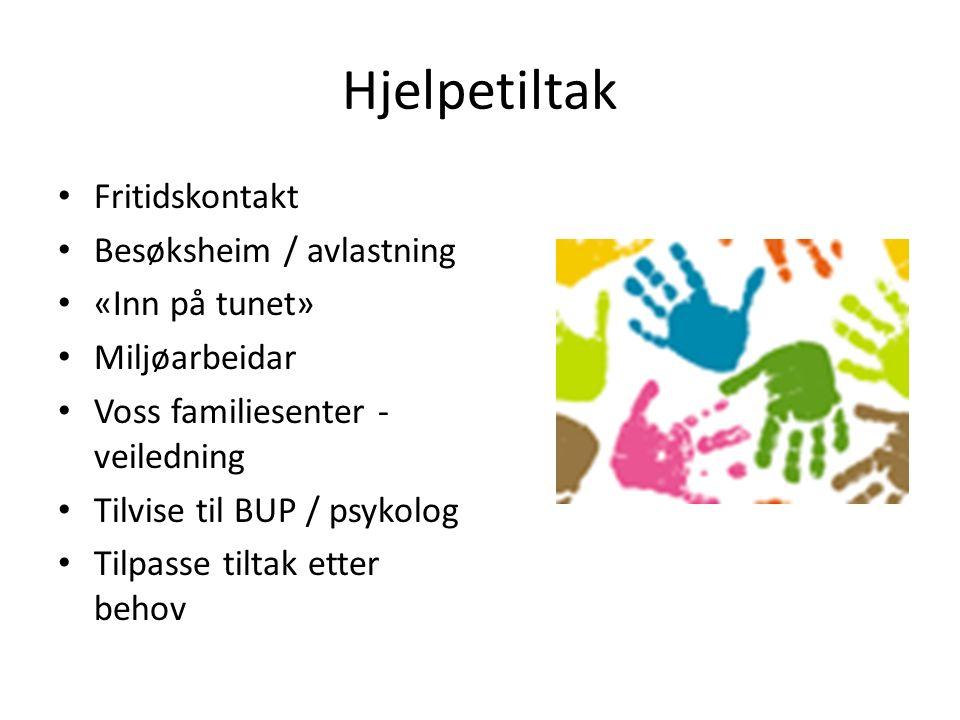 Hjelpetiltak Fritidskontakt Besøksheim / avlastning «Inn på tunet» Miljøarbeidar Voss familiesenter - veiledning Tilvise til BUP / psykolog Tilpasse tiltak etter behov