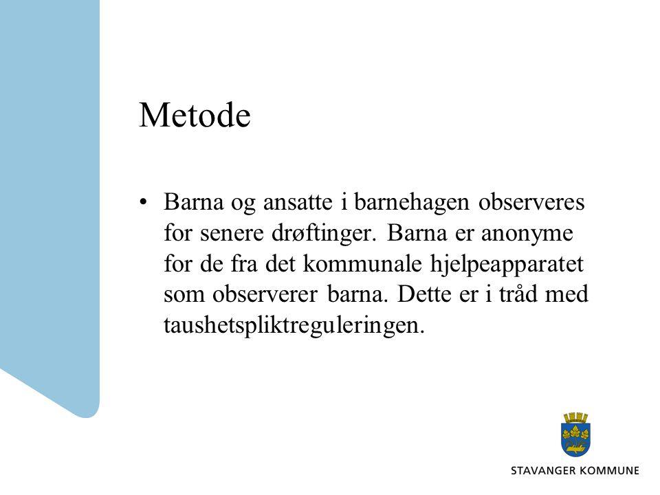 Metode Barna og ansatte i barnehagen observeres for senere drøftinger.