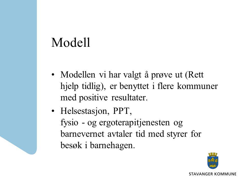 Modell Modellen vi har valgt å prøve ut (Rett hjelp tidlig), er benyttet i flere kommuner med positive resultater. Helsestasjon, PPT, fysio - og ergot
