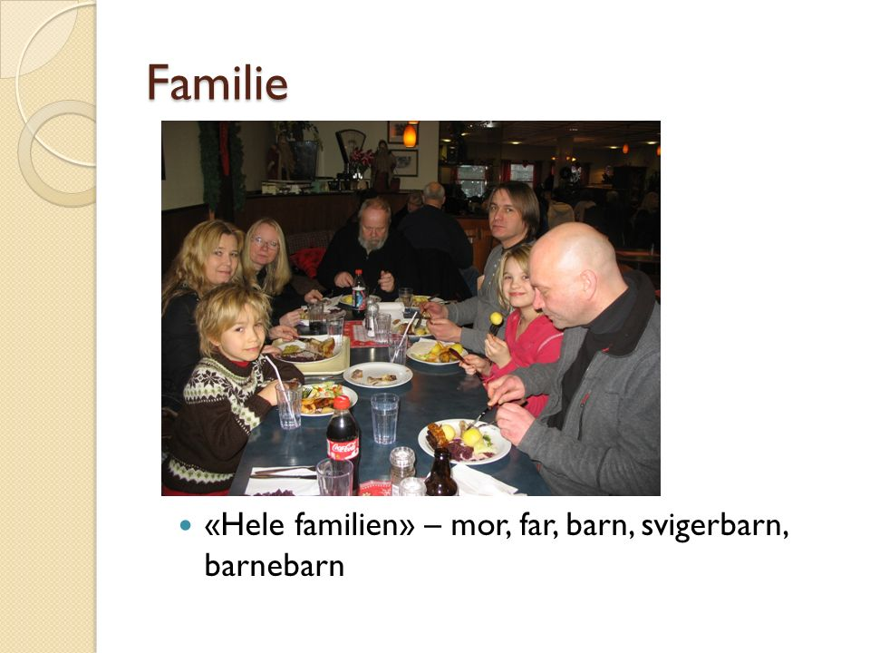Familie «Hele familien» – mor, far, barn, svigerbarn, barnebarn