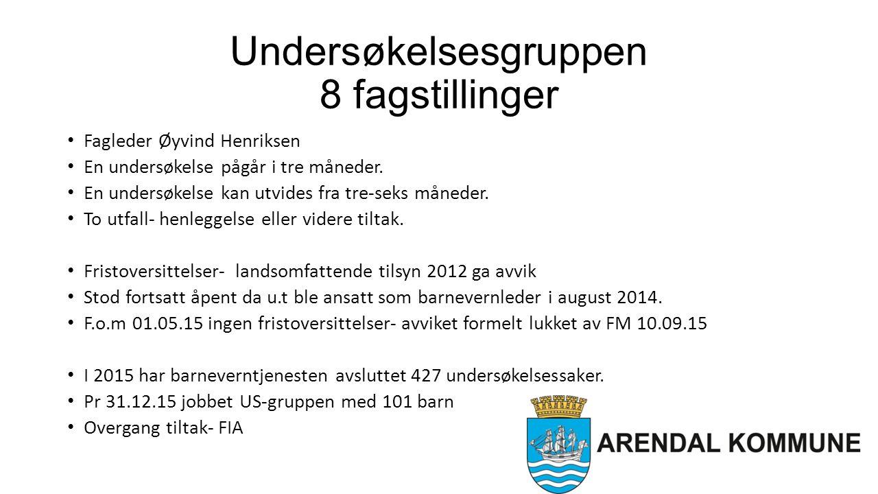 Undersøkelsesgruppen 8 fagstillinger Fagleder Øyvind Henriksen En undersøkelse pågår i tre måneder.