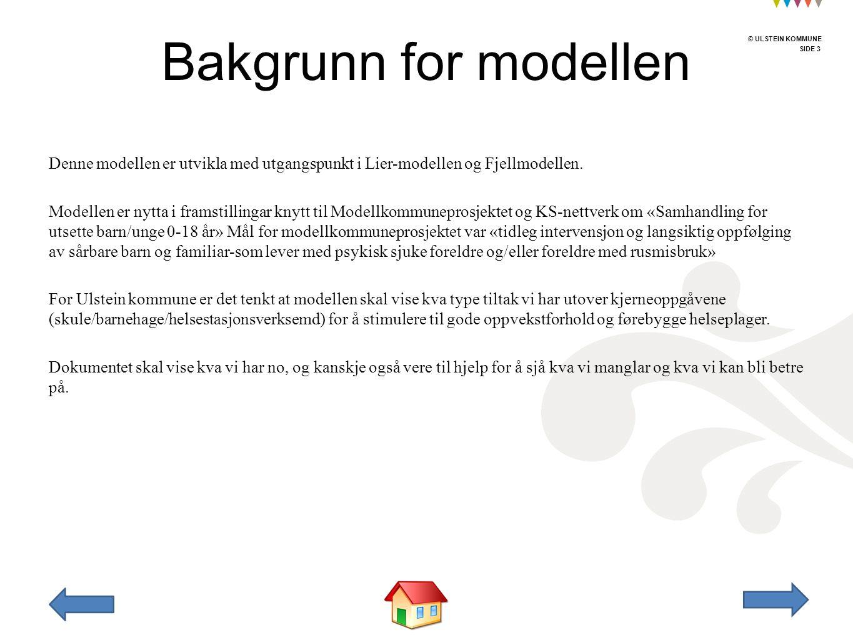 © ULSTEIN KOMMUNE SIDE 3 © ULSTEIN KOMMUNE Denne modellen er utvikla med utgangspunkt i Lier-modellen og Fjellmodellen. Modellen er nytta i framstilli
