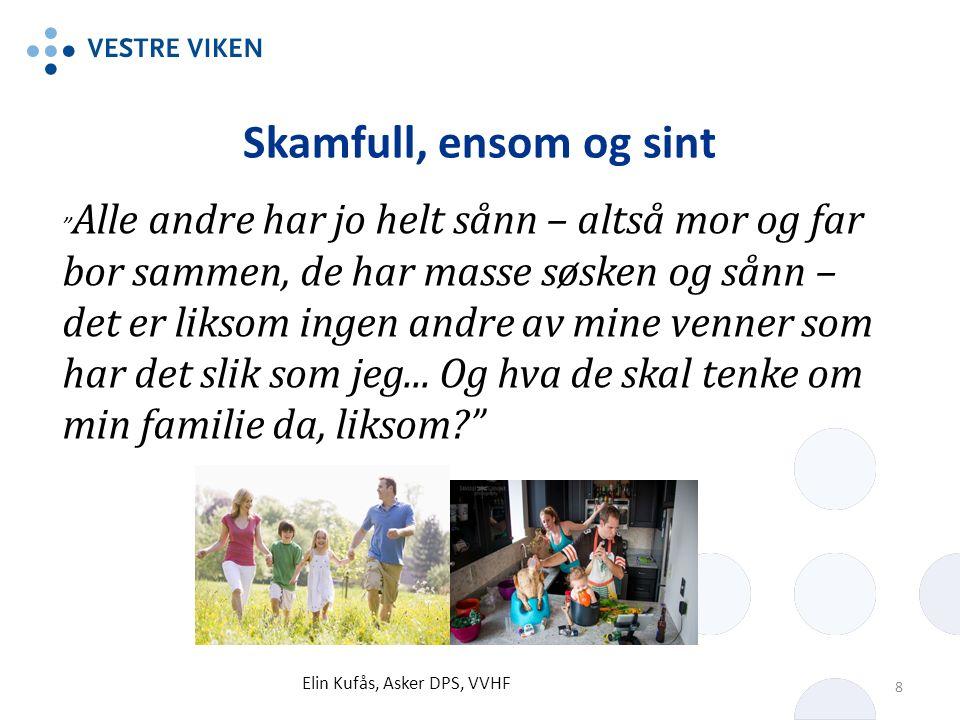 Skamfull, ensom og sint Elin Kufås, Asker DPS, VVHF 8 Alle andre har jo helt sånn – altså mor og far bor sammen, de har masse søsken og sånn – det er liksom ingen andre av mine venner som har det slik som jeg...