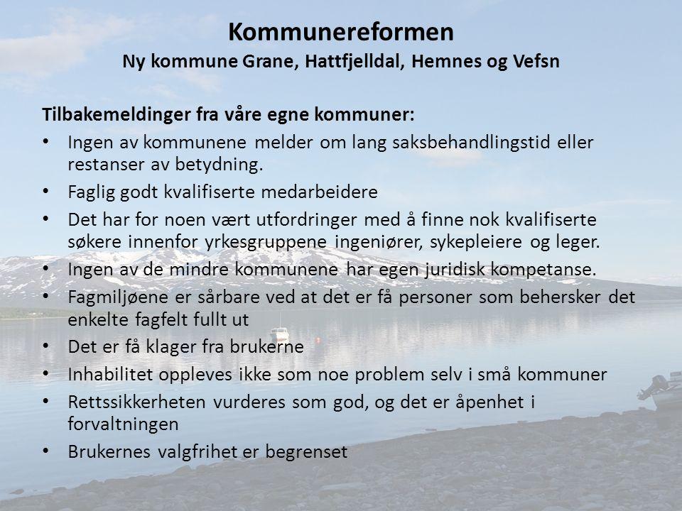 Kommunereformen Ny kommune Grane, Hattfjelldal, Hemnes og Vefsn Tilbakemeldinger fra våre egne kommuner: Ingen av kommunene melder om lang saksbehandlingstid eller restanser av betydning.