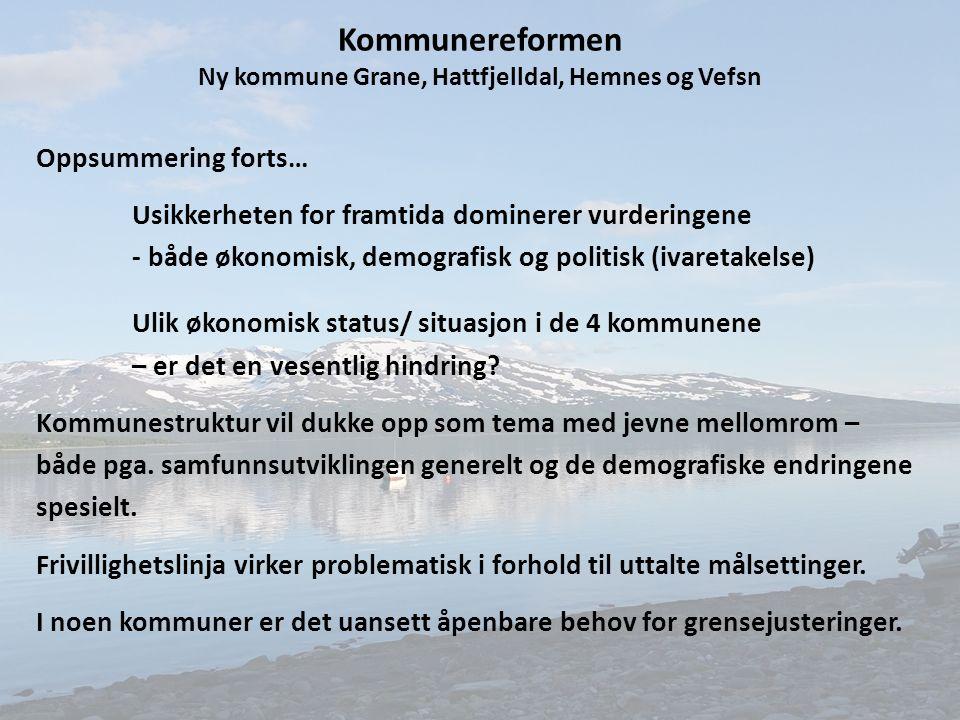 Kommunereformen Ny kommune Grane, Hattfjelldal, Hemnes og Vefsn Oppsummering forts… Usikkerheten for framtida dominerer vurderingene - både økonomisk, demografisk og politisk (ivaretakelse) Ulik økonomisk status/ situasjon i de 4 kommunene – er det en vesentlig hindring.