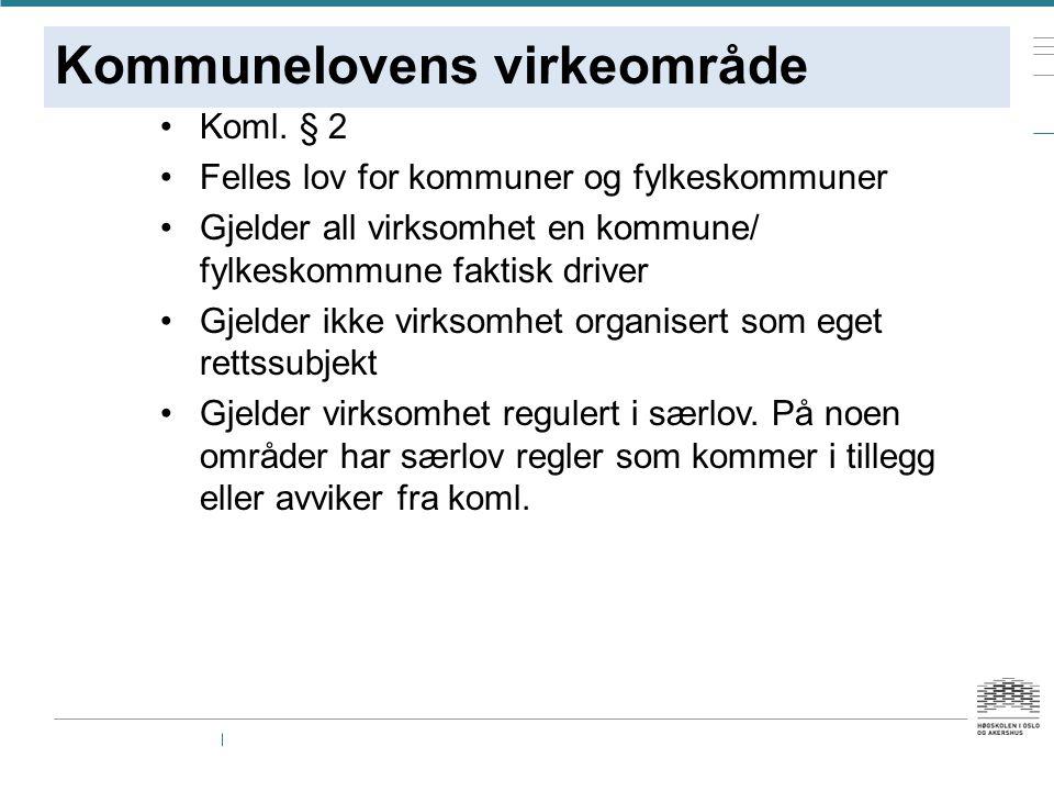 Kommunelovens virkeområde Koml.