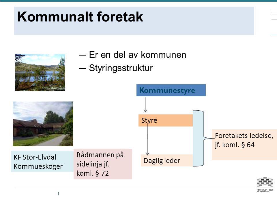 Kommunalt foretak — Er en del av kommunen — Styringsstruktur KF Stor-Elvdal Kommueskoger Kommunestyre Styre Daglig leder Foretakets ledelse, jf.