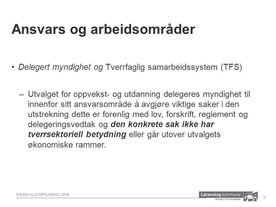 FOLKEVALGTOPPLÆRING 2015 Delegert myndighet og Tverrfaglig samarbeidssystem (TFS) –Utvalget for oppvekst- og utdanning delegeres myndighet til innenfo
