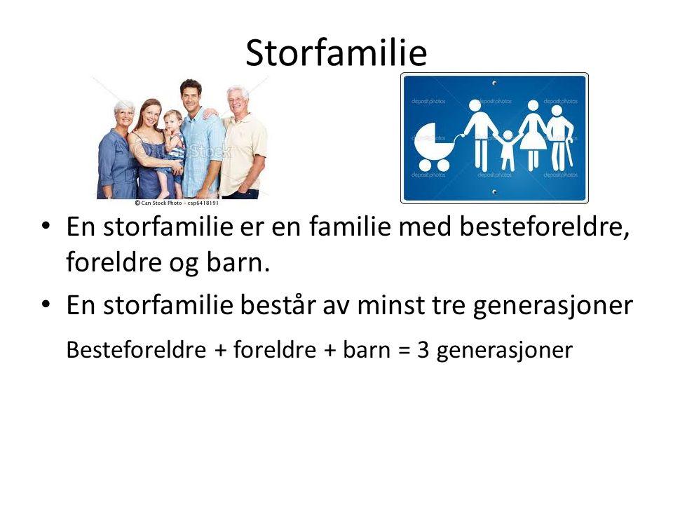 Storfamilie En storfamilie er en familie med besteforeldre, foreldre og barn. En storfamilie består av minst tre generasjoner Besteforeldre + foreldre