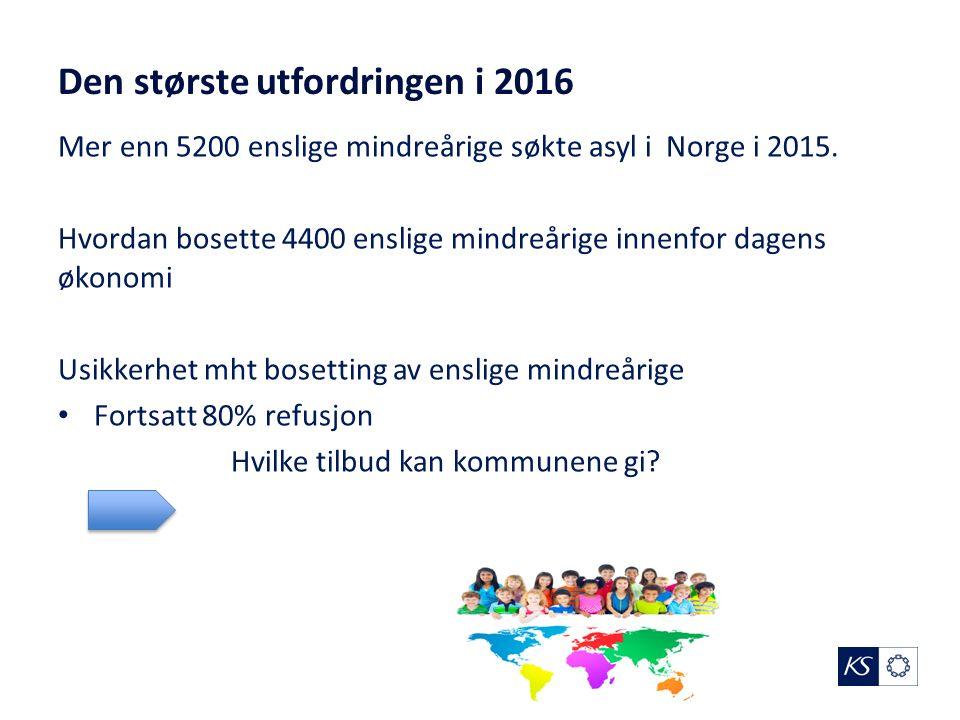 Den største utfordringen i 2016 Mer enn 5200 enslige mindreårige søkte asyl i Norge i 2015.