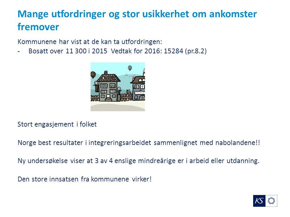 Mange utfordringer og stor usikkerhet om ankomster fremover Kommunene har vist at de kan ta utfordringen: -Bosatt over 11 300 i 2015 Vedtak for 2016: 15284 (pr.8.2) Stort engasjement i folket Norge best resultater i integreringsarbeidet sammenlignet med nabolandene!.
