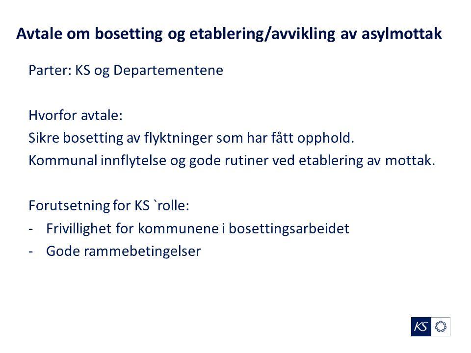 Avtale om bosetting og etablering/avvikling av asylmottak Parter: KS og Departementene Hvorfor avtale: Sikre bosetting av flyktninger som har fått opphold.