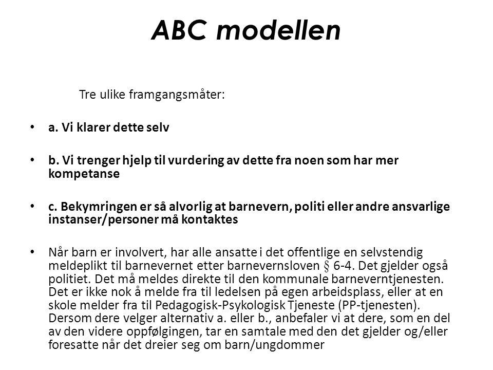 ABC modellen Tre ulike framgangsmåter: a. Vi klarer dette selv b. Vi trenger hjelp til vurdering av dette fra noen som har mer kompetanse c. Bekymring