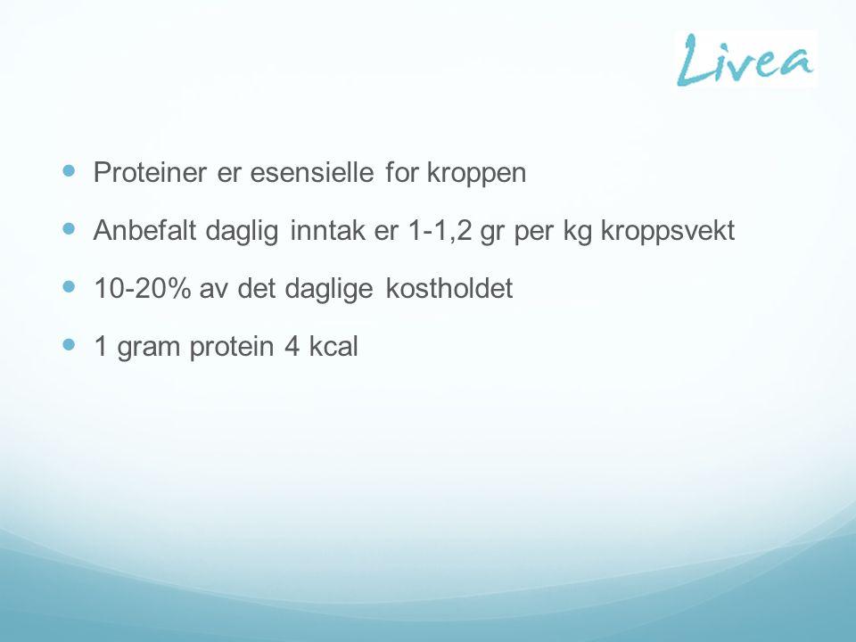 Proteiner er esensielle for kroppen Anbefalt daglig inntak er 1-1,2 gr per kg kroppsvekt 10-20% av det daglige kostholdet 1 gram protein 4 kcal