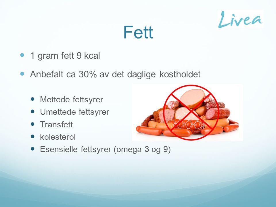 Fett 1 gram fett 9 kcal Anbefalt ca 30% av det daglige kostholdet Mettede fettsyrer Umettede fettsyrer Transfett kolesterol Esensielle fettsyrer (omega 3 og 9)