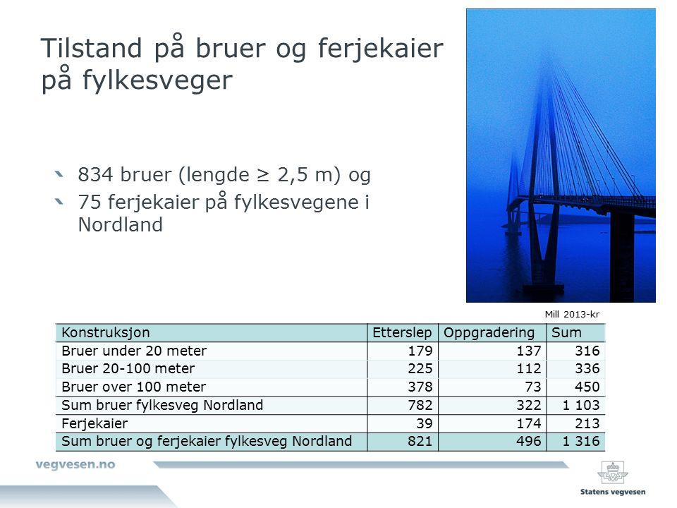 Tilstand på bruer og ferjekaier på fylkesveger Mill 2013-kr KonstruksjonEtterslepOppgraderingSum Bruer under 20 meter179137316 Bruer 20-100 meter22511