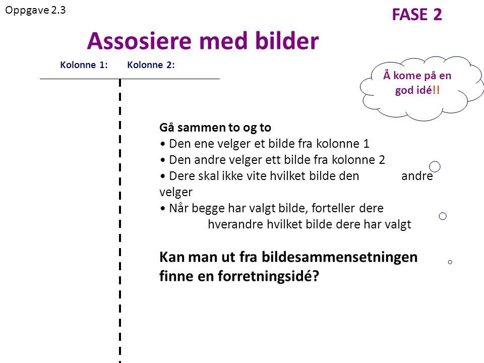 FASE 2 Kolonne 1: Kolonne 2: Assosiere med bilder Oppgave 2.3 Å kome på en god idé!.