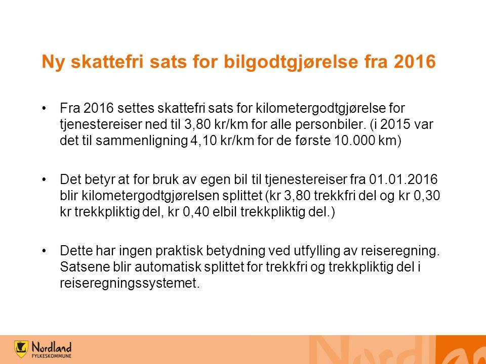 Ny skattefri sats for bilgodtgjørelse fra 2016 Fra 2016 settes skattefri sats for kilometergodtgjørelse for tjenestereiser ned til 3,80 kr/km for alle personbiler.