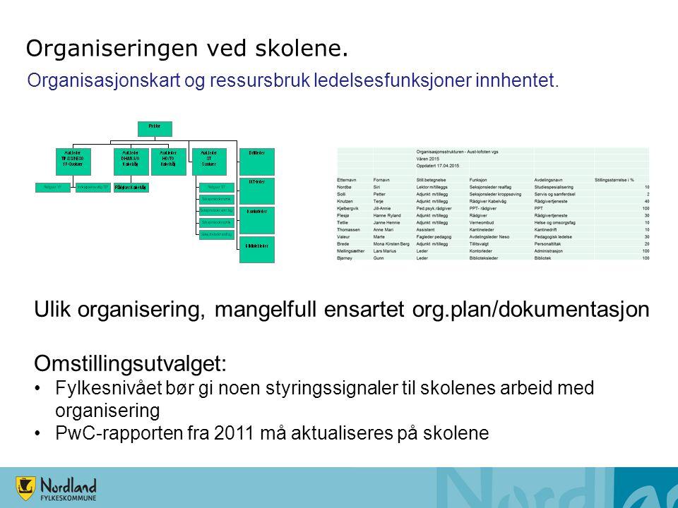 Organisasjonskart og ressursbruk ledelsesfunksjoner innhentet. Ulik organisering, mangelfull ensartet org.plan/dokumentasjon Omstillingsutvalget: Fylk