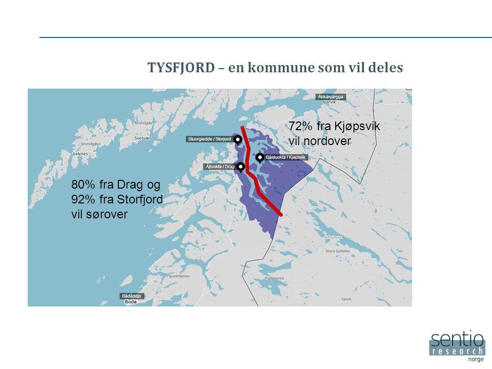 TYSFJORD – en kommune som vil deles 80% fra Drag og 92% fra Storfjord vil sørover 72% fra Kjøpsvik vil nordover
