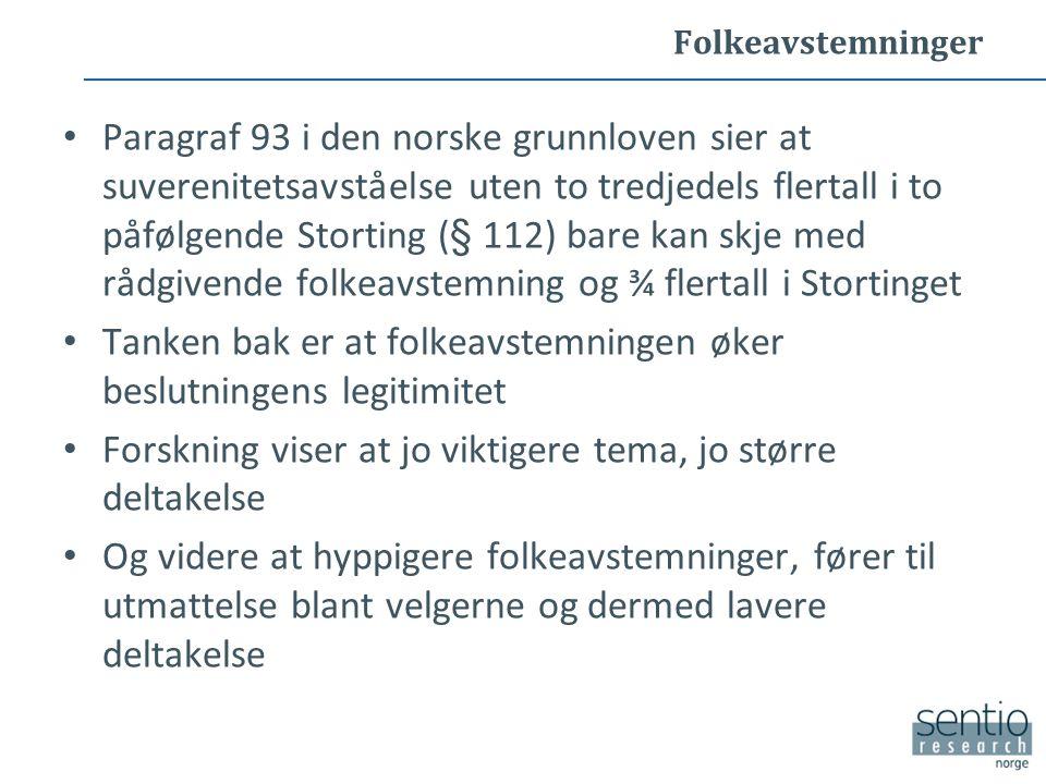 Folkeavstemninger Paragraf 93 i den norske grunnloven sier at suverenitetsavståelse uten to tredjedels flertall i to påfølgende Storting (§ 112) bare kan skje med rådgivende folkeavstemning og ¾ flertall i Stortinget Tanken bak er at folkeavstemningen øker beslutningens legitimitet Forskning viser at jo viktigere tema, jo større deltakelse Og videre at hyppigere folkeavstemninger, fører til utmattelse blant velgerne og dermed lavere deltakelse