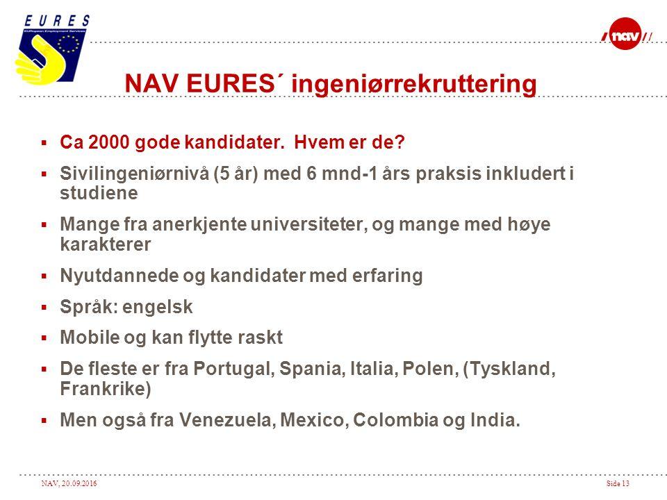 NAV, 20.09.2016Side 13 NAV EURES´ ingeniørrekruttering  Ca 2000 gode kandidater.
