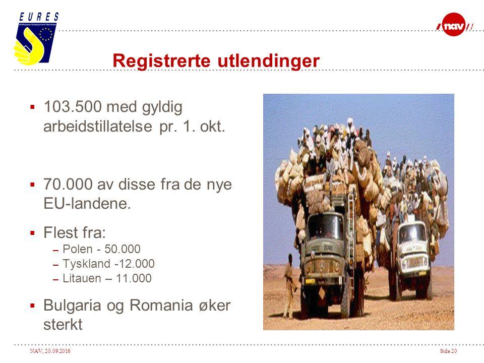 NAV, 20.09.2016Side 20 Registrerte utlendinger  103.500 med gyldig arbeidstillatelse pr.