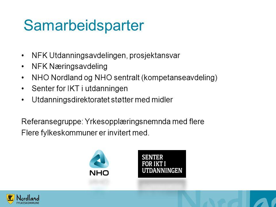 Samarbeidsparter NFK Utdanningsavdelingen, prosjektansvar NFK Næringsavdeling NHO Nordland og NHO sentralt (kompetanseavdeling) Senter for IKT i utdanningen Utdanningsdirektoratet støtter med midler Referansegruppe: Yrkesopplæringsnemnda med flere Flere fylkeskommuner er invitert med.